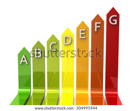 Illustration of energy rating graph with arrows