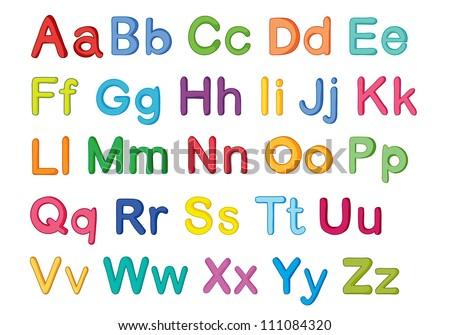 illustration of english alphabets on a white - stock photo
