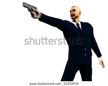 Illustration of enraged man in a dark suit holding a gun.  Based on an original 3d render; suitable for depicting video games. - stock photo