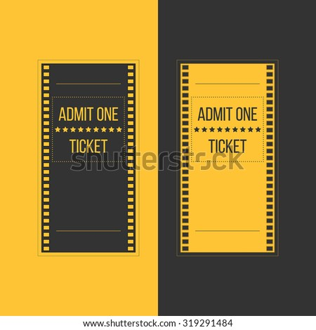 Illustration of entry cinema ticket in film footage style. Admit one movie event invitation. Pass icon for online tickets booking - stock photo