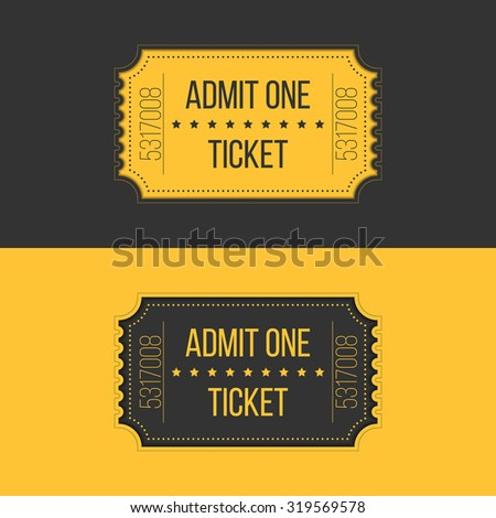 Illustration of entry ticket in stylish vintage style. Admit one cinema, theater, zoo, festival, carnival, concert, circus event. Pass icon for online tickets booking - stock photo