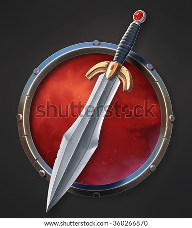Illustration of Epic sword as a UI icon. - stock photo