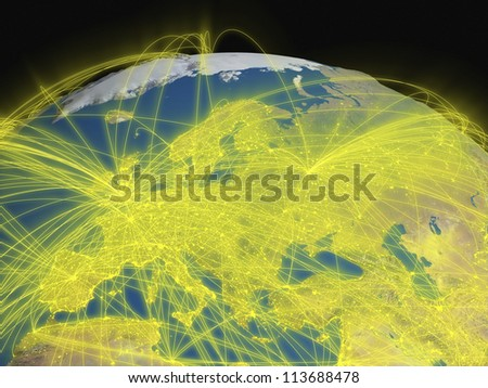 Illustration of Europe from space with glowing yellow connections between cities and continents representing global airline networks. Elements of this image furnished by NASA - stock photo