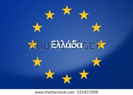 Illustration of European Union flag - labeled with Greece in greek language - stock photo