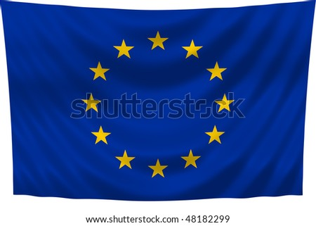Illustration of European Union flag waving in the wind