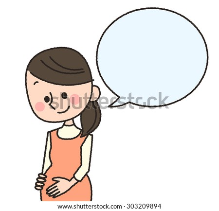 illustration of expected women smiling and speaking something - stock photo