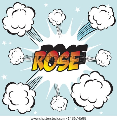 Illustration of explosion or big fight in comics book style ROSE