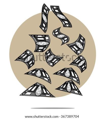 Illustration of falling money with circle background - stock photo