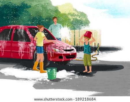 Illustration of family washing car - stock photo