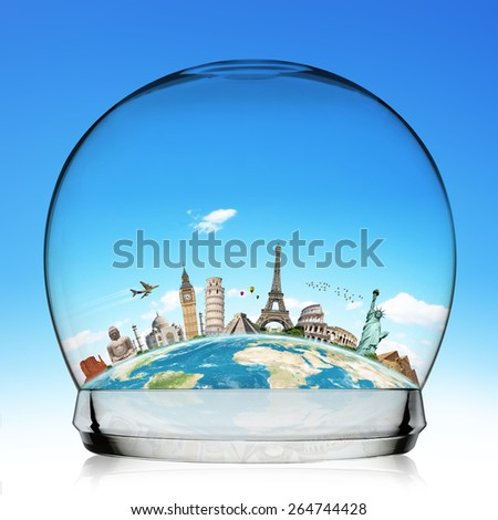 illustration of famous monuments of the world aligned in a snowball 'Elements of this image furnished by NASA' - stock photo