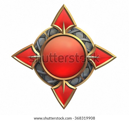 Illustration of fantasy emblem with red gems and gold - stock photo