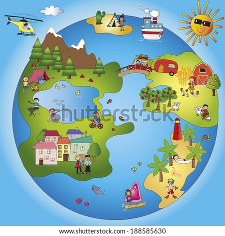illustration of fantasy world with children - stock photo