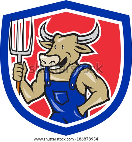 Illustration of farmer cow bull facing front laughing holding a pitch fork inside crest shield done in cartoon style.