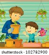 Illustration of father and son gardening - EPS VECTOR format also available in my portfolio. - stock photo