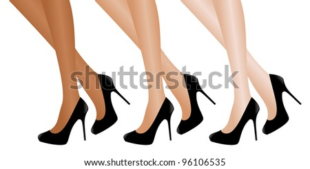 Illustration of female legs with different skin/tights tone wearing black high heels. Vector version also available. - stock photo