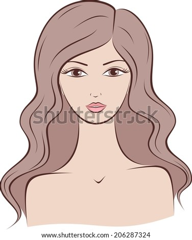 Illustration of female silhouette with long hair. Raster version