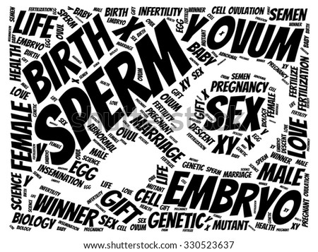 Illustration of fertilization concept in modern word cloud