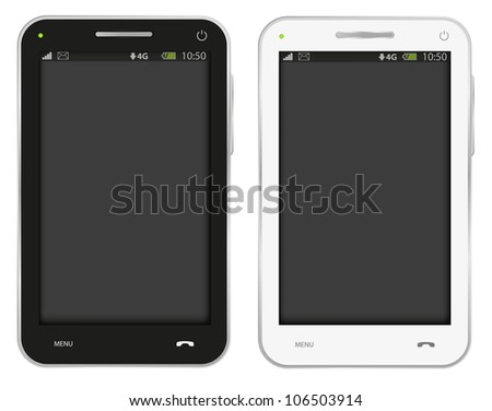 Illustration of Fictitious Mobile Phone Isolated on White
