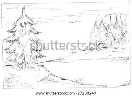 Illustration of fir trees in black pencil on white.