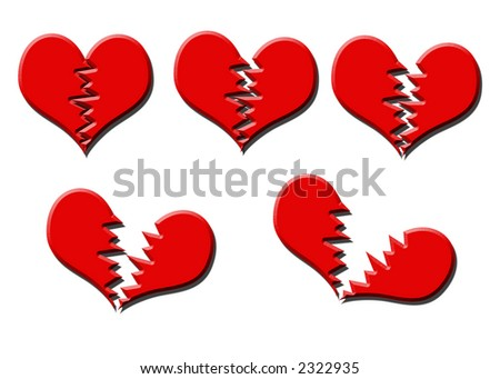 Illustration of five different stages of heart break - stock photo