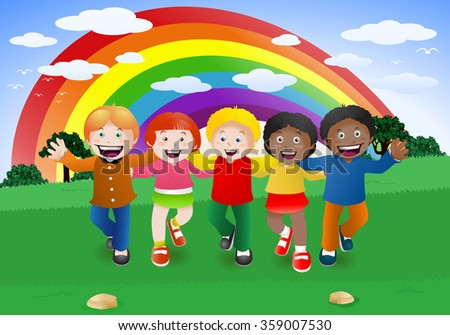illustration of five multicultural children holding hands, symbolizing world unity and peace - stock photo