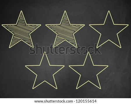 Illustration of five stars ratings yellow written on blackboard background. - stock photo