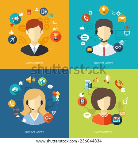 Illustration of flat design business composition with technical support - stock photo