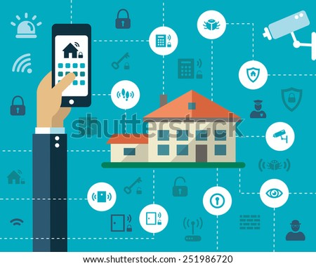 Illustration of flat design composition with secure icons - stock photo