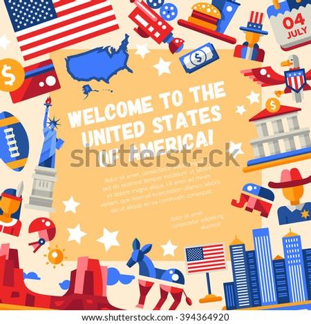 Illustration Flat Design Usa Travel Flyer Stock Illustration