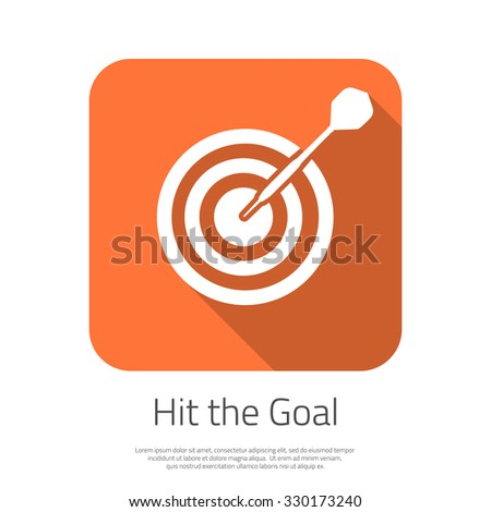 Illustration of Flat Vector Target Hit the Goal Icon with Long Shadow. Dartboard Success bullseye Icon for Smartphone App - stock photo