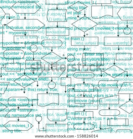 Illustration of flowchart diagrams and programming code, seamless pattern background - stock photo