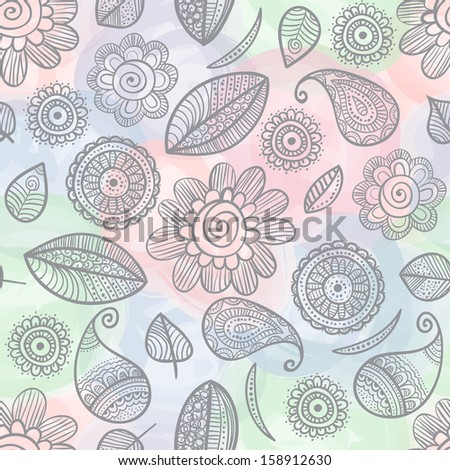 Illustration of flower doodles on watercolor seamless pattern background