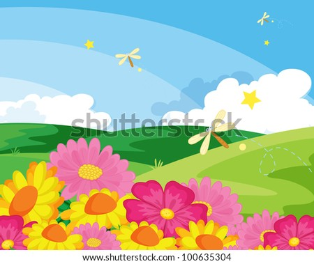 Illustration of flowers and insects  - EPS VECTOR format also available in my portfolio.