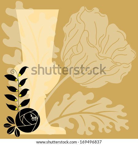 Illustration of flowers and vase