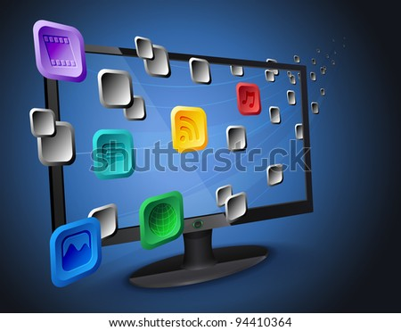 Illustration of flowing web app icons on cloud integrated widescreen Internet TV / computer.
