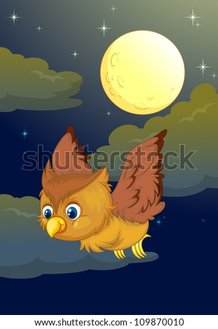 illustration of flying owl and full moon in a dark night - stock photo