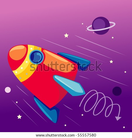 illustration of flying rocket ship in the sky with stars - stock photo