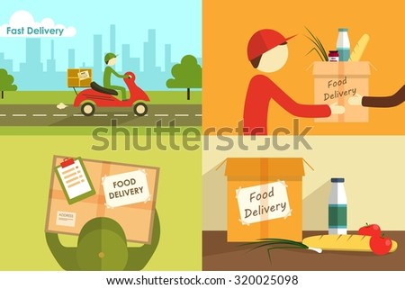 illustration of food delivering. - stock photo