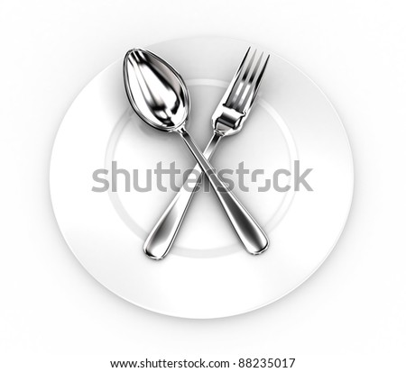 Illustration of fork and spoon on a white plate