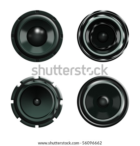 illustration of four big woofers in different shapes on white background