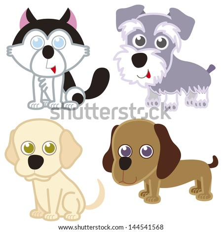 illustration of four cartoon cute dog collection. - stock photo