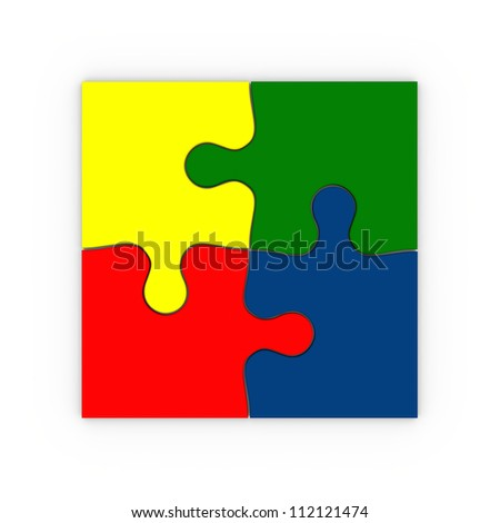 Illustration of four colorful puzzle pieces isolated on white background, concept of final solution