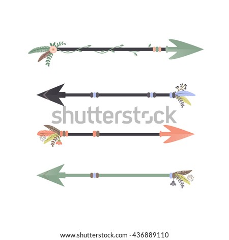Illustration of four nature inspired arrows on a white background./Tribal Arrows
