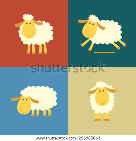 Illustration of four sheep in flat color style