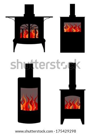 Illustration of four styles of wood burning stoves - stock photo