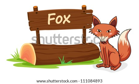 illustration of fox and name plate on a white