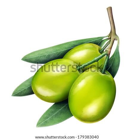 Illustration of fresh jujube isolated on white - stock photo