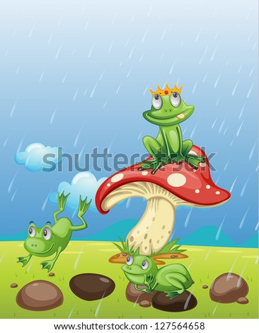 Illustration of frogs playing in the rain