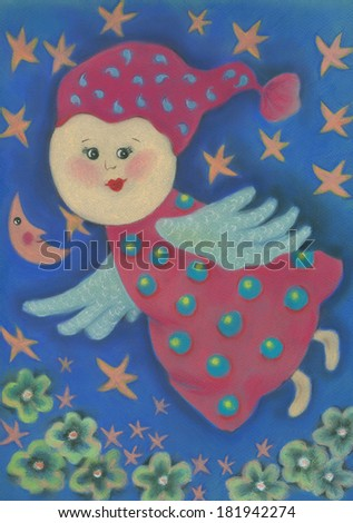 Illustration of fun flying angel on the blue background with flowers and stars