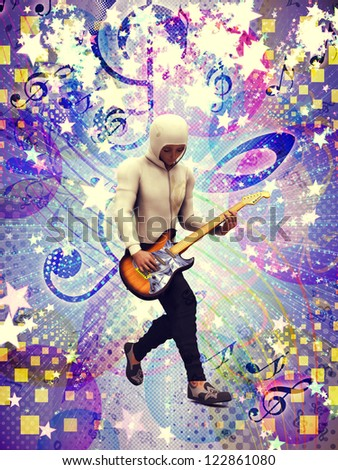 Illustration of funky guitarist colorful music background. - stock photo